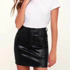 AGOLDE Lydia Black Vegan Leather Mini Skirt